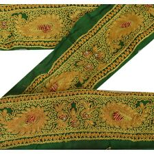 Sanskriti Vintage Sari Border Antique Hand Beaded 1 YD Indian Trim Sewing Green