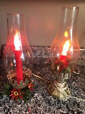 Vintage Electric Christmas Hurricane Lamps w/Candle Flame Bulbs - Set Of 2