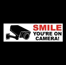 """Smile - You'Re On Camera"" cctv video surveillance Security Sticker sign store"