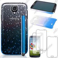 Housse Etui Coque Gouttelettes Bleu Samsung Galaxy S4 i9500 + Stylet + 3 Films