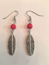HANDMADE SILVER TONE FEATHER EARRINGS WITH RED BEAD ACCENT & FISH HOOK EAR WIRE