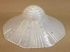 Vintage 3 Hole Chain Hanging Iridescent White Ribbed Glass Ceiling Light Shade