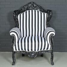ARMCHAIR - BAROQUE STYLE ARMCHAIR BLACK & BLACK WHITE STRIPES # F30MB140
