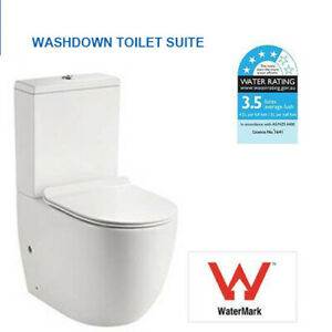 Washdown Hygiene Flush  Back to Wall Toilet Suite with Soft Close