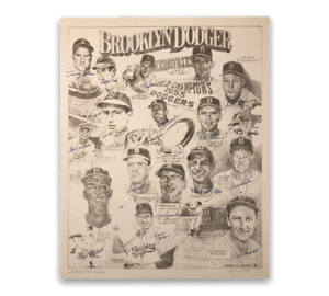 Brooklyn Dodgers Signed Autographed 16x20 Lithograph LE 47/50 JSA
