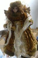 Angelo natalizio in porcellana vestito fatto a mano puntale albero natale 40cm