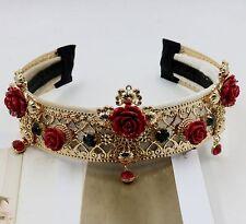 Roses Cross Fairy Queen HeadBand Elf Crown Royal Punk Gothic Flower Head Wreath
