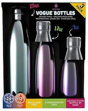 Manna Vogue Metallic Insulated Water Drink Bottles - 3 pack bundle 25, 17 & 9oz.