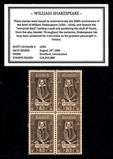1964 - WILLIAM SHAKESPEARE- #1250 Mint -MNH- Block of Four Postage Stamps
