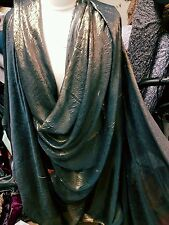 "1M  self print TEAL Green  dress Shimmer SOFT  DRESS CHIFFON FABRIC 58"" WIDE"