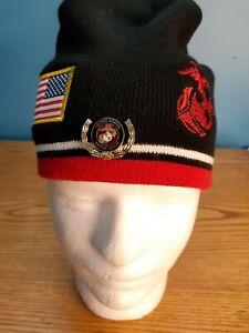 U.S. Marine Corps USMC Marines Logo Beanie Cap Knit with Marines Pin Included