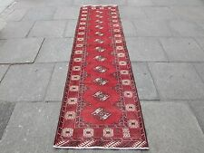 Vecchie tradizionali hand made Persiano RUNNER Oriental ROSSO LANA LUNGO RUNNER 280x75cm