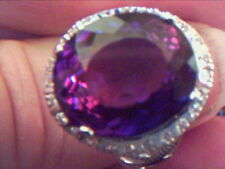 AMETHYST QUARTZ AND WHITE SAPPHIRE RING SIZE N LOOK