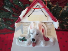 GERMAN SHEPHERD  WHITE ~ DOGHOUSE  ORNAMENT  ~ #75W