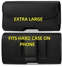 XL Black Leather Pouch Holder Belt Clip Loop Holster Case For MOTOROLA Phones
