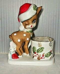 Vintage Jasco Little Reindeer Porcelain Christmas Figurine Tea Light Candle 1978