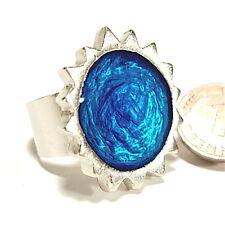 Ring SoHo Sonne silber Kunstharz blau SoHo retro resin email kaltemail blue