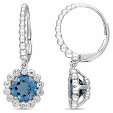 Amour 14k White Gold London-Blue Topaz and Diamond Halo Leverback Earrings