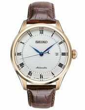Seiko SRP772 Mens Automatic Classic Rose Tone Brown Leather Strap Watch