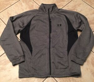 LARGE Mens UNDER ARMOUR  FULL Zip Fall Winter White Grey Jackets {LOT X 2}