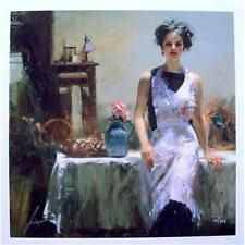 """Pino """"Evening Thoughts """" In her apron Sold out Embellished Giclee Canvas Hand S#"""