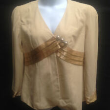 Magali Gazzelle Ciampi 16 Beige Evening Jacket Satin Trim Vintage Gazelle