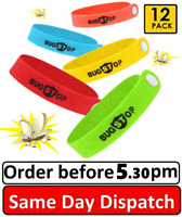 12 Anti Mosquito Repellent Bracelet Wristband Bands travel Mozzie Insect Camping
