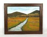 Vintage Mid Century Landscape Oil Painting of Stream Field Fence Scene Signed