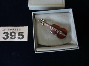 Vintage Cognac Amber & Silver Brooch - Violin / Cello / Double Bass