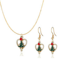 3pcs Christmas XMAS Necklace+Earrings Set Women Pendant Jewelry Sweater Chain