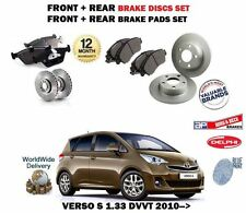FOR TOYOTA VERSO S 1.33 VVTI 2010-> FRONT + REAR BRAKE DISCS SET + DISC PADS KIT
