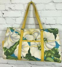 Lynn Rose Large Handbag Tote NWOT Leather Canvas Yellow Floral