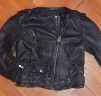 AllSaints Women's Black Cropped RILEY Leather Biker Jacket UK 12