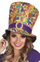 New Adult 60s 70s Flower Power Peace Hippie Hippy Fancy Dress Accessory Top Hat
