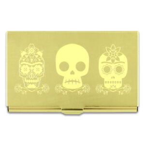 """ACME Studio FRIDA KAHLO """"3 Skulls"""" Etched Brass Business Card Case"""