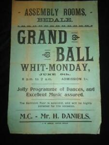 BEDALE antique poster Assembly Rooms Grand Ball North Yorkshire scarce ephemera