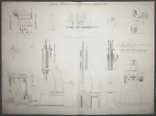 c1868 STEAM HAMMERS & FORGING MACHINES Large ENGRAVING Print