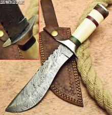 LOUIS MARTIN RARE CUSTOM HANDMADE DAMASCUS ART HUNTING BOWIE KNIFE CAMEL BONE