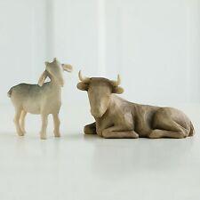 Willow Tree Ox & Goat Animal Nativity Figurines Christmas Demdaco Pieces New Box