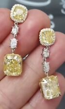 5Ct Cushion Simulant Canary Yellow Diamond Dangle Earrings Yellow Gold FN Silver