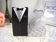 50pcs Tuxedo Groom Bridal Wedding Dress Party Favors Gift Boxes Ribbon Candy Box
