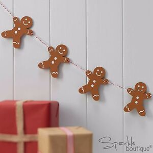 WOODEN GINGERBREAD MAN BUNTING-Vintage Christmas Garland/Xmas Hanging Decoration