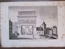 GRAVURE 1839 PARIS VUE PORTE SAINT BERNARD COTE EST