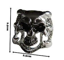 Anillo Cráneo Biker Tallas para Hombres de Acero Inoxidable T1/2 banda de garra detalle ocultas UK #23