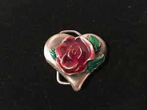 Pewter Tone Heart & Rose Belt Buckle