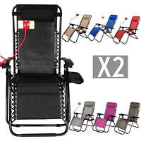 2 Zero Gravity Folding Lounge Chairs W/Drink Holder Beach Patio Outdoor Recliner
