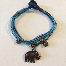 Handmade Bronze Elephant with Blue Multi strand Friendship Bracelet with bells!