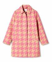 Women's Isaac Mizrahi Target Pink Tan Houndstooth Jacket Coat XS Extra Small NWT