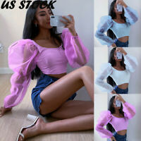 US Women Ladies Blouse Long Puff Sleeve Organza Chiffon Shirt Casual Blouse Tops