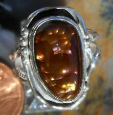 Sterling Silver and Fire Agate Gem ring size 7 1/4  D121